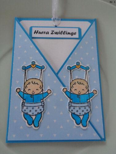 Glückwunschkarte zur Geburt und zur Taufe Baby**Junge** Zwillinge