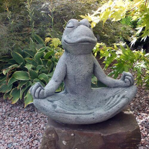 Steinfigur Yoga Frosch groß Stein Vogeltränke Vogelbad  Steinguss Frostsicher