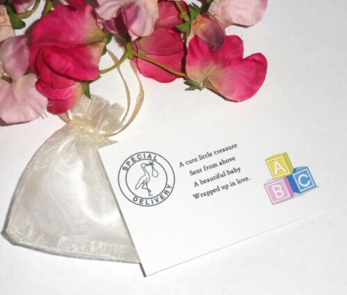 Baby Shower//New Baby CHARM BRACELET For Mum Gift card /& Organza Pouch