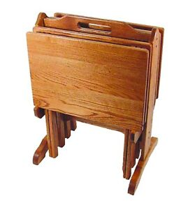 Amish Furniture Oak Folding Tv Tray Set With Storage Stand Made