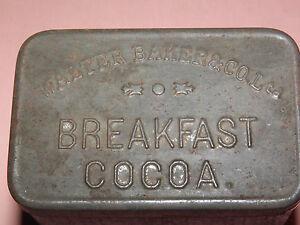 VINTAGE WALTER BAKER & CO LTD BREAKFAST COCOA EMBOSSED METAL TIN