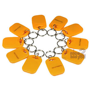 New-10-x-Yellow-125Khz-EM4100-RFID-Proximity-ID-Key-Ring-Tag