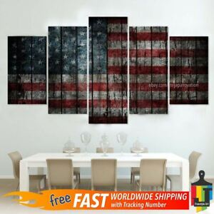Details About 5 Pieces Home Decor Canvas Print American Flag Wall Art Abstract Modern Poster