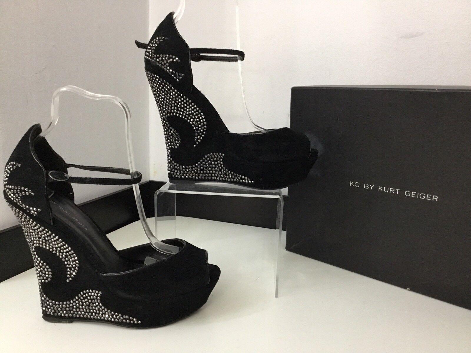 Kurt Geiger kg Isobel en daim noir en cuir compensées chaussures Taille 39 UK 6