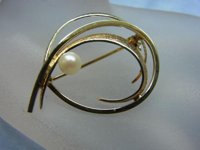 585er GIALLO SPILLA con perle grandi con 3 3 3 cm diametro peso 5 68 grammi cc77fc
