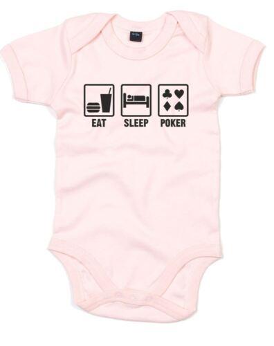 Eat Sleep Poker Printed Baby Grow Cute Baby Shower Gift New Romper Sleep Suit