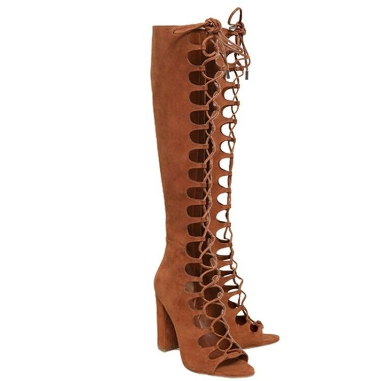 Women's Ladies Fashion Open Toe Lace Up High Heel Knee High Boots Gladiator