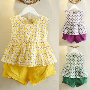 2PCS-Set-Toddler-Kids-Baby-Girls-Outfits-Clothes-T-shirt-Vest-Tops-Shorts-Pants