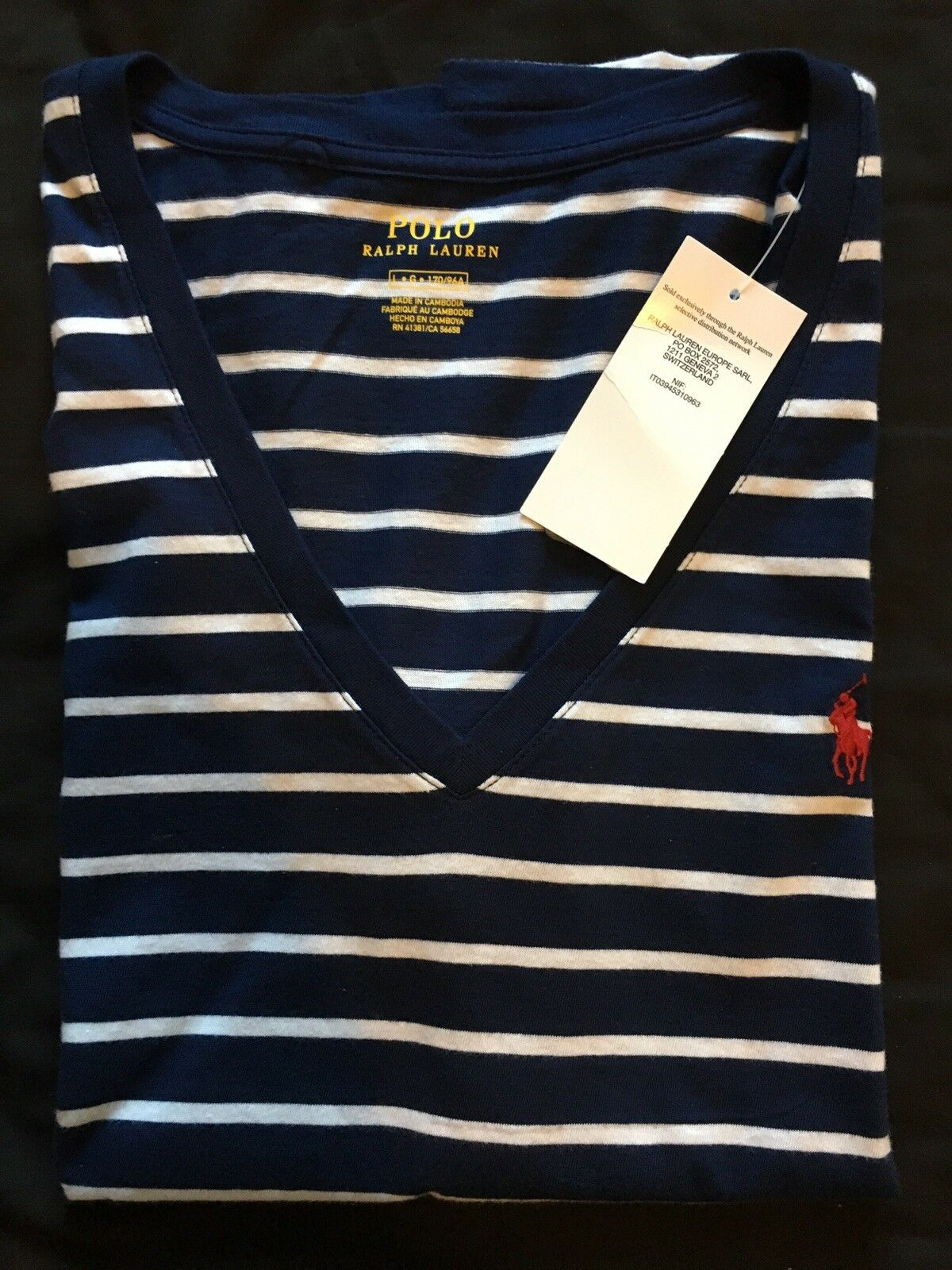 Ralph Lauren Polo Women Navy Top Shirt Large Red Pony Short Sleeve RRP