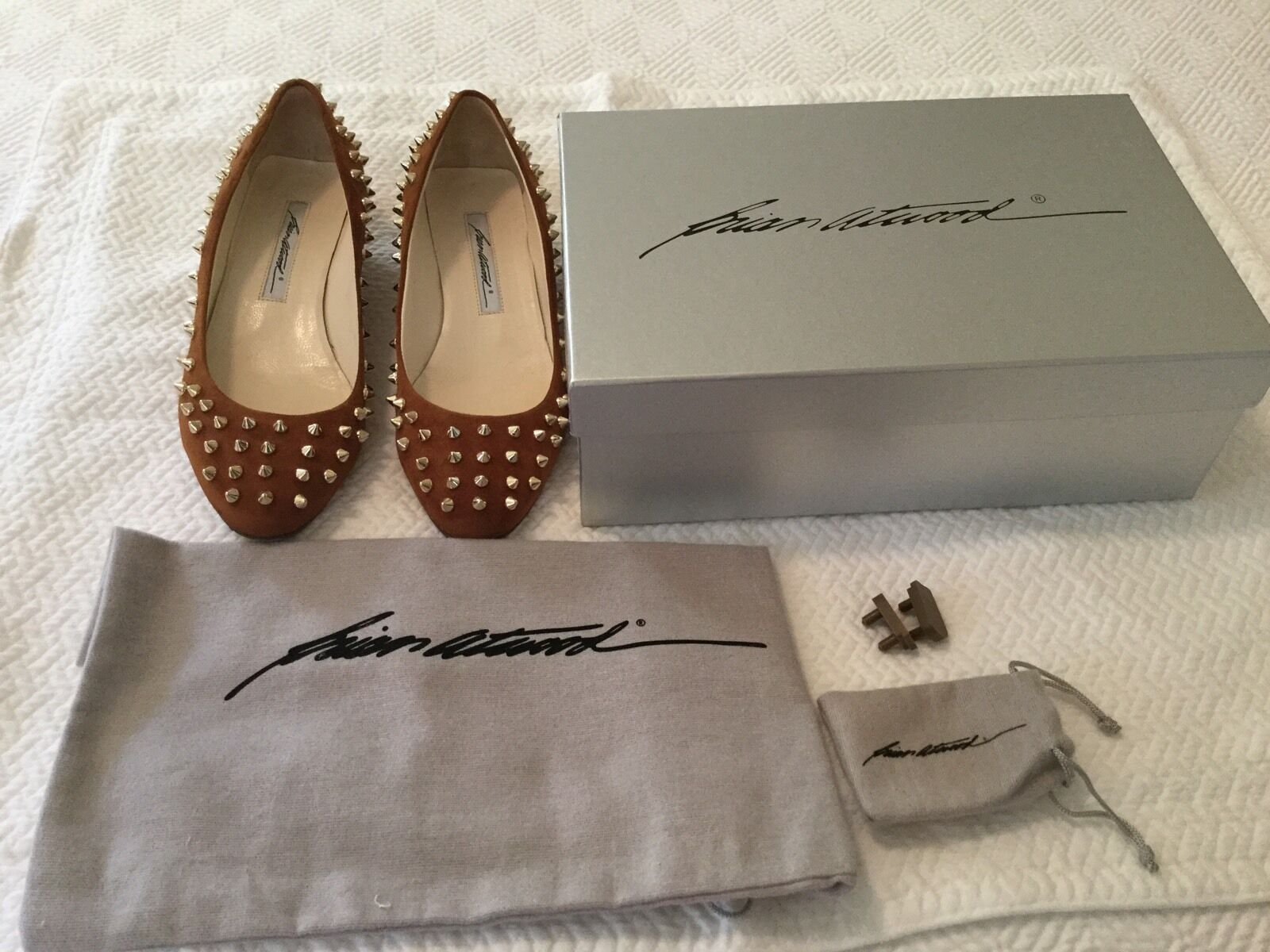 Brian Atwood Atwood Atwood 'Anastasia' Studded Velukid and Suede Tiny-wedge Ballet Flats 37.5 e0f584