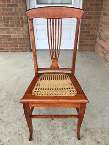 Fabulous Details About Antique Vintage Wood Dining Side Chair Harp Back Caned Seat Beautiful Condition Ncnpc Chair Design For Home Ncnpcorg