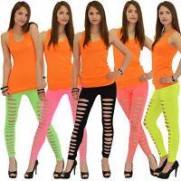 Damen Leggings Legging Leggins Hose Neon Mit Schlitzen Bunt Bunte Farbige L13