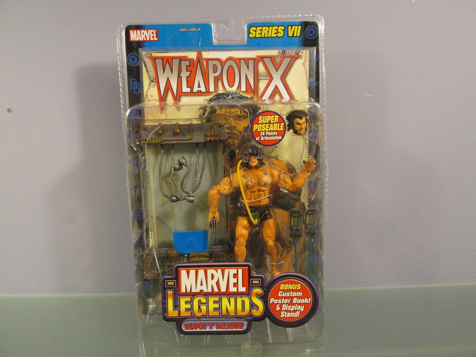 Marvel Leyendas Serie VII 7 arma X Wolverine Con Poster Book Juguete Biz X-men Raro