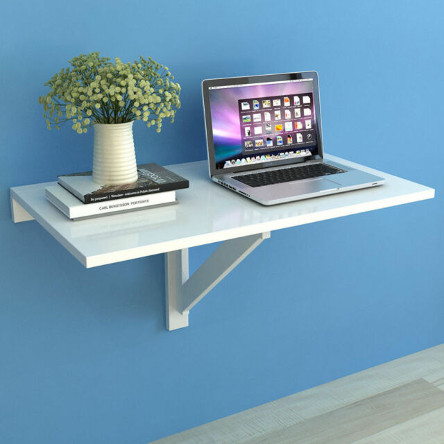White Folding Wall-mounted Table Drop-leaf Desk Dining Table Writing PC Laptop