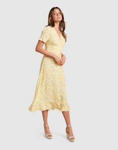 NWT FOREVER NEW Fern Frill Hem Midi Dress Lemonade Ditsy - size 12 - RRP $139.99