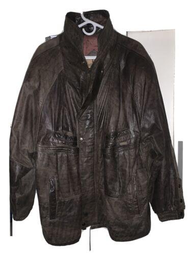Men's Brown Genuine Leather Winter Jacket Size 46