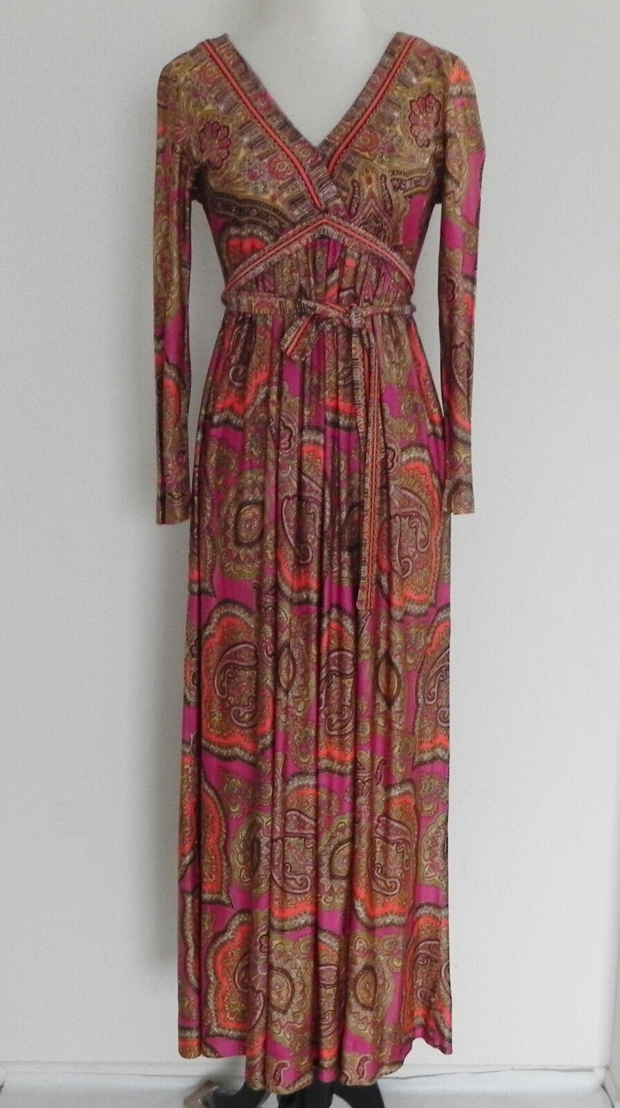 Vtg Hippie Maxi Dress Multi-color Paisley Empire Waist Long Sleeve Nylon Size S