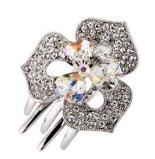 Hair Clip Claw using Swarovski Crystal Hairpin Flower Bridal wedding Silver AB 1
