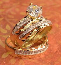 14k His And Hers Gold Engagement Rings And Multiple Wedding Band Set