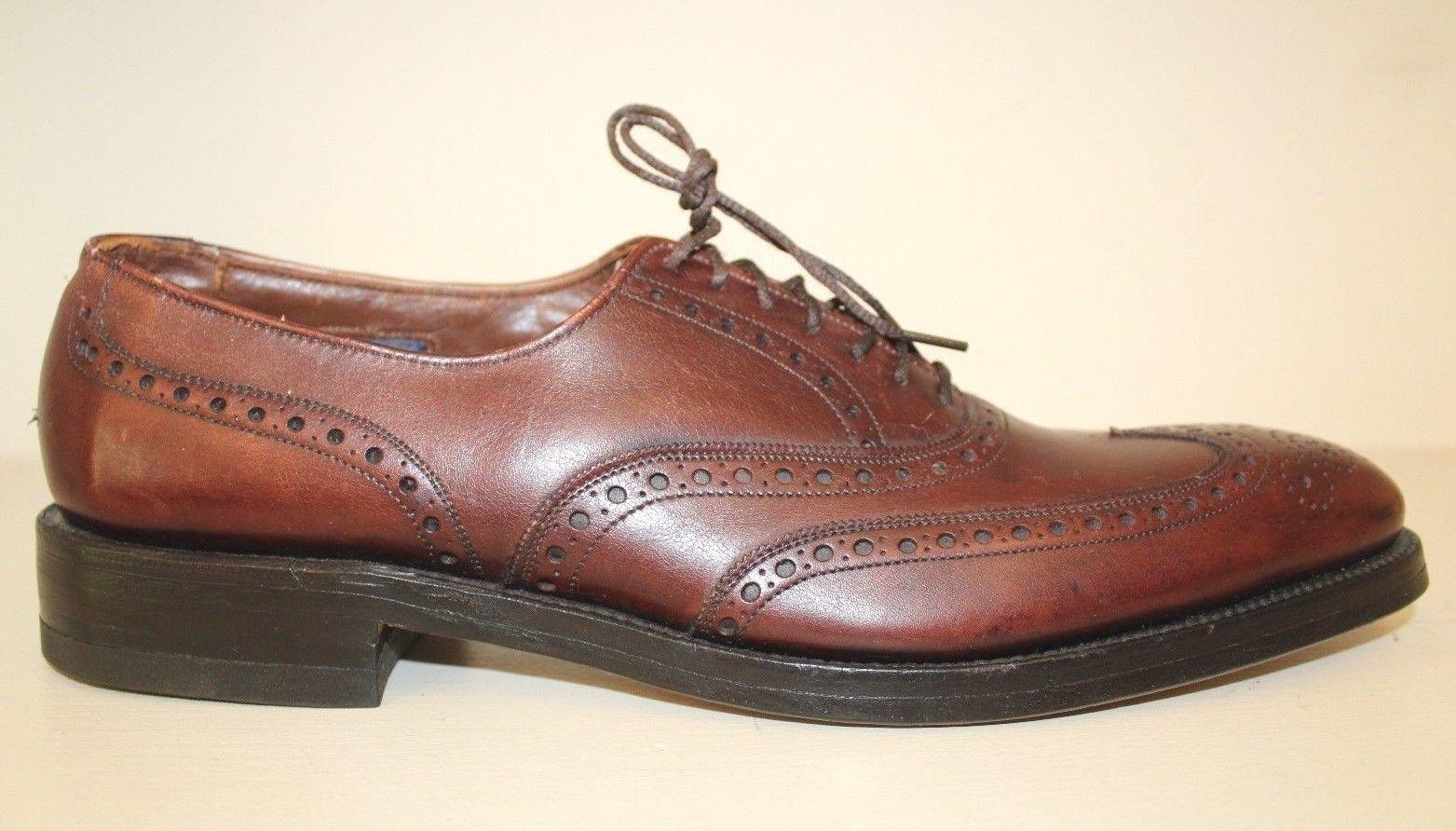 Allen Edmonds Mens Oxford shoes Sz 12 4A Boulevard Wingtip Brown (4X Narrow) VTG