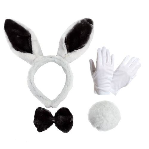 Ears Bow Tie Tail /& White Gloves Adult Easter Spring Bunny Rabbit Dress Up Kit