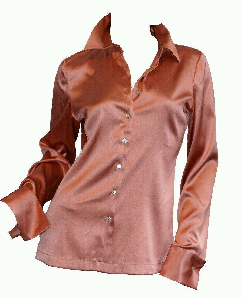 MelodyThomas Genuine SILK Charmeuse Blouse Button Long Sleeve Salmon 6 8 Medium