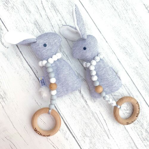 ChristeningBaby Shower Personalised Silicone Teething Toy Teether Bunny