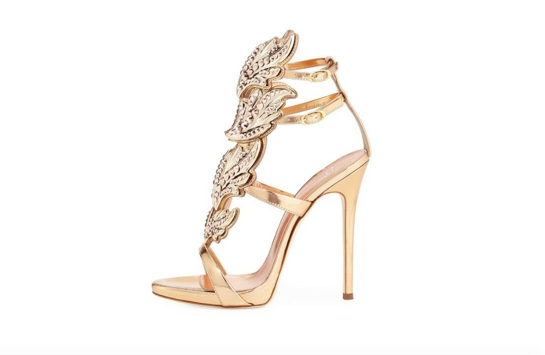 Giuseppe Zanotti Coline Wings Leather 110mm Sandal pinkgold Crystal Crystal Crystal embellished c1cf94