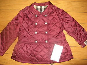 64d764513ea NEW Burberry Infant Baby Girls Diamond Quilted Jacket Parka Size 12 ...