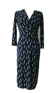 Austin Reed Size 6 8 Uk Ladies Navy Jersey Wrap Bodice Dress White Print Ebay