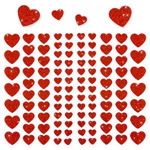 106-Herz-Aufkleber-mit-Glitzer-Effekt-in-Rot-Herzen-Sticker-Scrapbooking-Deko