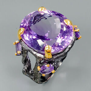 Top-Color-28ct-Natural-Amethyst-925-Sterling-Silver-Ring-Size-9-25-R89420