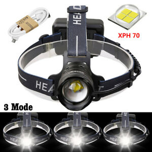 Super-Bright-300000LMS-XHP70-LED-Headlamp-Headlight-Zoom-USB-Rechargeable-18650