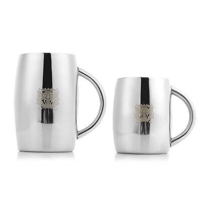 Stainless Steel Double Wall Beer Mug Stein Juice Pilsner Cup Tumbler KTV Barware