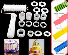 Fondant Ribbon Cutter Strip Embosser Roller Cake Cookie Decorating Craft Tool #T