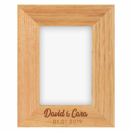 Personalised Wooden Oak Photo 4 x 6 Frame Any Message OR Name OR Dog Frame