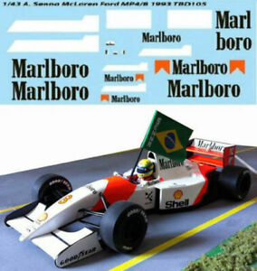 1/43 For Mclaren Ford Mp4/8 Ayrton Senna 1993 F1 Decals Tb Decal Tbd105
