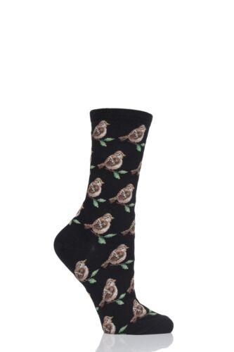 Ladies 1 Pair HotSox Birds Cotton Socks