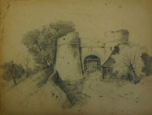19-Century-Pencil-Drawing-Signed-19-Century-Pencil-Drawing