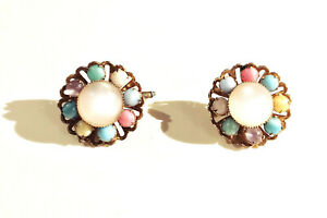 VINTAGE-JEWELRY-1960s-Pastel-Color-Round-Moonstone-Lucite-Bead-Flower-Cuff-Links