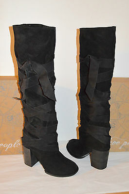 New $428 Free People Paradiso Wrap Boots Black Leather/Suede Tall/Knee High