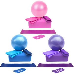 5pcs Yoga Equipment Set Include Yoga Ball Yoga Blocks Stretching Strap [Purple]