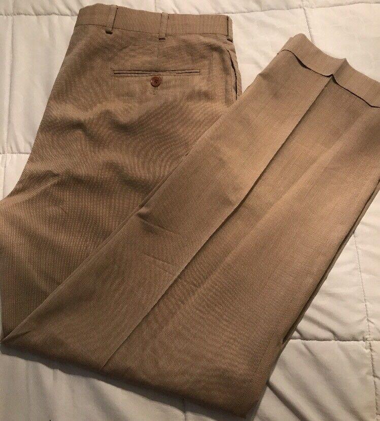 Brooks Bredhers 346 Tan 100% Wool Cuffed Pleated Dress Pants 36 32