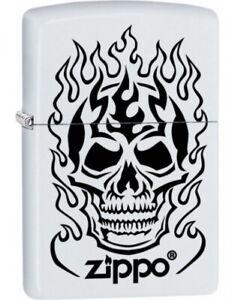 Zippo-Accendino-Fiammeggiante-Skull-Bianco-Opaco-Teschio-Fiamma-Logo-Nuovo-Ovp