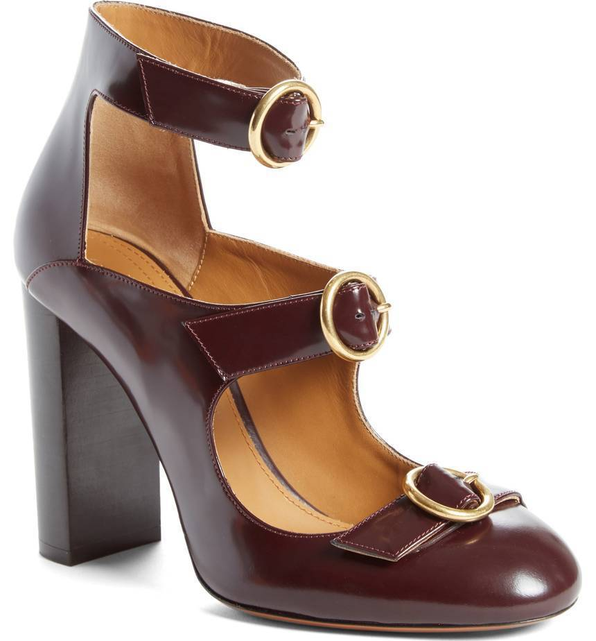 NIB CHLOE Triple Buckle Block Heel 100 Pump shoes Deep Purple Leather 38 - 8
