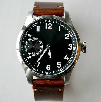 Mercedes Benz Mechanical Men`s Watch Black Dial / Brown Leather Band