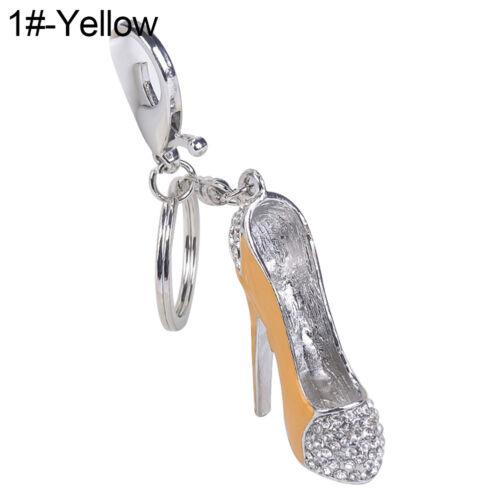 QA/_ Fashion Lady High Heel Shoe Pendant Shiny Rhinestone Alloy Bag Car Keychai