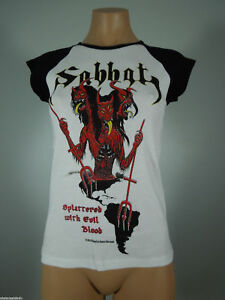 SABBAT-Splattered-White-GIRLIE-Shirt-Black-Cap-Sleeves-M-R-I-P-Records-NEW