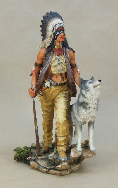 Veronese Figur Indianer mit Wolf - ca. 29 cm hoch