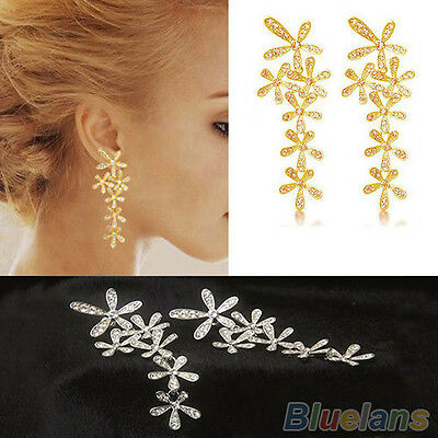 Hot Fashion Rhinestone Long Snowflake Flower Dangle Earrings Stud Gold Silver